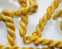 Hand Dyed Stranded Cotton Floss Embroidery Thread - Variegated Shades of Primrose Yellow Skein Ref. 5321