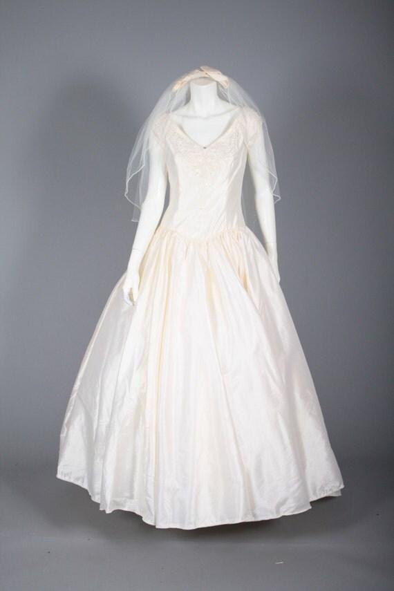 Pearl Trim Wedding Dress Silk Sweep Train By