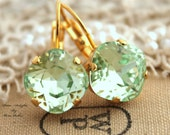 Mint drop earrings, Swarovski  Clear Mint green Crystal lever back earring - 14k Gold plated hook earrings real swarovski rhinestones .