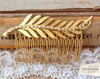 Hair comb,Bridal hair Comb,Bridal Crystal Hair comb,Gold Leaf Hair Comb,Swarovski Hair Accessories,Vintage Style Bridal Hair Accessories
