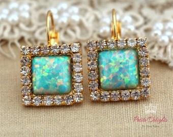 Mint green Opal Drop earrings with white rhinestones, bridesmaids jewelry,wedding earrings, drop earrings- 4k gold plated swarovski earrings