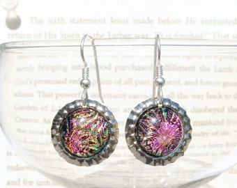Mini Bottle Cap Dichroic Glass Earrings, Fused Glass Jewelry, Sterling Silver Hooks - Nebula, Fireworks - Spring Colors (Item #30838-E)