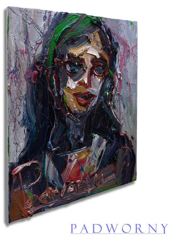 Oil Paint on Gallery Wrapped Stretched Canvas 20 by 16 by 3/4 in. / Original Oil Painting Large Impressionism Art  Pop Realism Folk Abstract