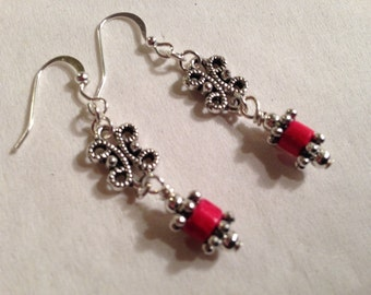 Red Earrings Filigree Jewelry Silver Jewellery Dangle Everyday Wood