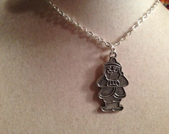 Santa Clause Necklace - Silver Jewelry - Pendant Jewellery - Chain - Fashion - Kitsch - Hipster - Holiday