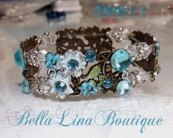 Frozen Inspired Blue Crystal Cuff Bracelet - Bridal Bracelet - Bridesmaid Bracelet - Crystal Cuff Bracelet