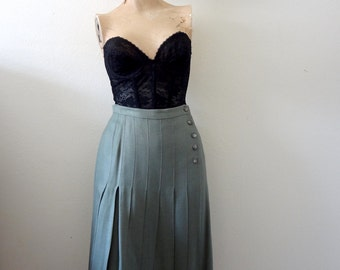 1980s Side Button Skirt vintage pleated a-line wrap skirt - preppy fall fashion
