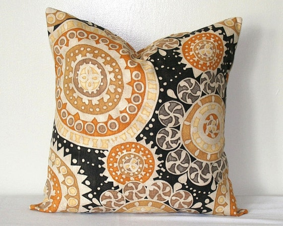 suzani gold and black medallion decorative pillow 18 inch With black and gold accent pillows