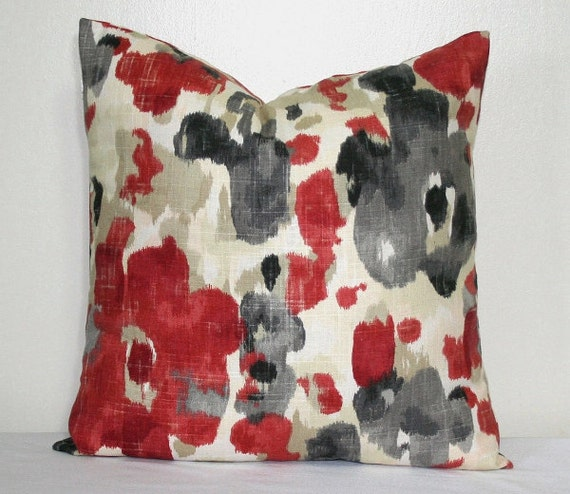 Red And Grey Modern Pillow 18 X 18 Inch Linen Pillow Cover