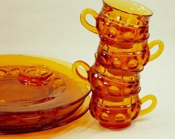 King's Crown Orange/Amber Snack/Luncheon Plates and cups, Tiara Collectible Glass, 1970's, eight piece set, Vintage Kitchen Serving