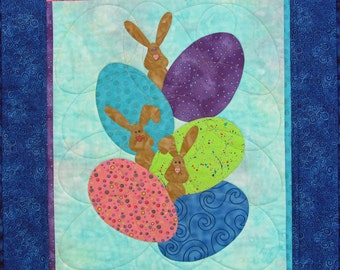 Bunnies Frockling in the Eggs Quilted Wall Hanging, 4399-2, easter wall quilt, bunny wall quilt