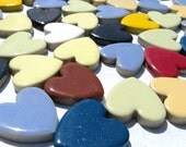 Heart Mosaic Tiles - 50 Large Ceramic 1 Inch Tiles in Assorted Colors To Use in Craft Projects