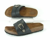 sandals womens 9 black cork boston style leather bling buckle