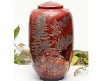 Red Fern Raku Jar, Free Shipping, 10.5 in. tall with copper and fern detail, Home Decor, Special Keepsake Urn