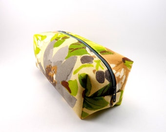 Yellow and Grey Floral Makeup Bag, Gadget Case, Under 15, Pencil Case, Medium, Zippered, Cosmetic Case, For Her