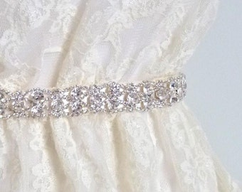 Thin Crystal Bridal Sash, rhinestone wedding belt, silver crystal rhinestone belt, crystal wedding sash - MALLORY