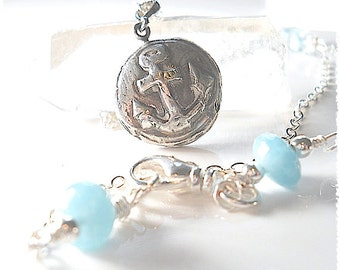 GROUNDED + HOPE Filled: Women's ANCHOR Wax Seal Seal Necklace  with Aquamarine Gemstones . Nautical . Maritime . Beach Jewelry