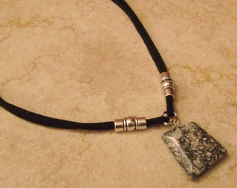 Polished Marble Stone Charm Beaded Double Suede Leather Necklace