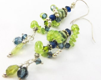 Twisted Spiral Green Peridot and Navy Blue Swarovski Earrings on all Sterling Silver