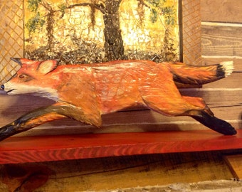 Jumping Red Fox 3ft. Chainsaw woodland art wood carving wildlife wall mount detailed fox hunting rustic home decor woodworking sculpture
