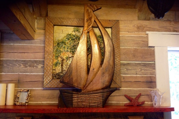 """Sailboat with natural walnut stain 40"""" rustic chainsaw wood carved nautical sculpture free standing or wall mount sailing ship coastal art"""
