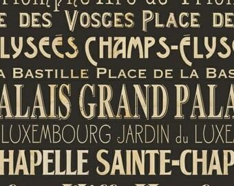 Paris Fabric, Words in Black, Pela Studio, Wild Apple Fabric, France, One Yard