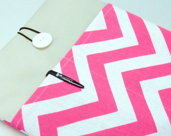 iPad Air case, iPad cover, iPad sleeve/ Samsung Galaxy Tab 3 10.1 with 2 pockets, PADDED - Hot pink chevron