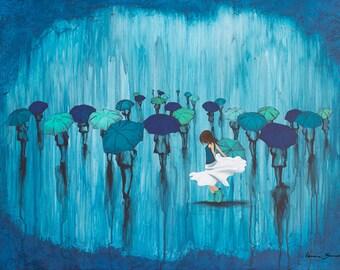 Rain Art, Rain Print, Umbrella Art, titled Dance in the Rain, Limited Edition Print, Girl Rain Art