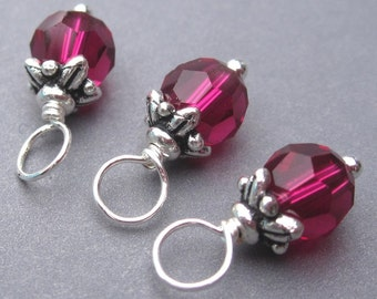 Ruby Swarovski Crystal Birthstone Charms, Stitch Markers, Interchangeable Earrings Jewelry, Swarovski Bead Dangles, 6mm Swarovkski Crystals