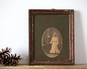 SALE Vintage Wedding Portrait Matted Framed Antique Photograph in Original Wood Frame
