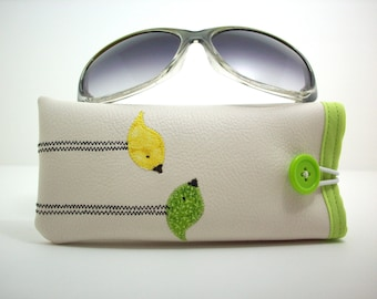 Eyeglass case in cream with yellow and lime green birds