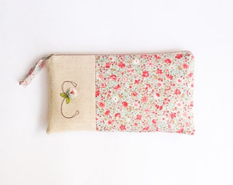 Floral Bridesmaid Purse, Mint and Coral Wedding Clutch, Personalized Bridesmaid Gift, Wedding Purse MADE to ORDER MamaBleuDesigns