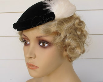 Vintage Hat Black Velvet With White Feathers By Bernard Workman