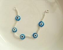 Evil Eye silver beaded bracelets
