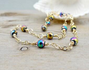 Rainbow Anklet, Titanium Hematite Gemstone Ankle Bracelet, Dainty Gold Anklet