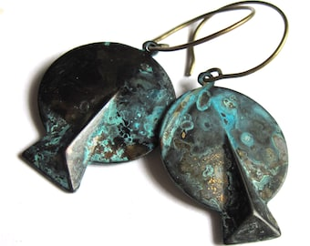 Blue Black Patina Art Deco Earrings Verdigris Fashion Jewelry
