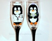 Navy Uniform Penguins Hand Painted Champagne Flutes for Wedding, Anniversary, Set of 2 / 6 Champagne Flutes