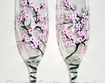 Cherry Blossoms, Light Pinks,Hand Painted Set of 2 6 oz.Champagne Flutes. Spring Wedding,Wedding,Anniversary,Toasting Flutes