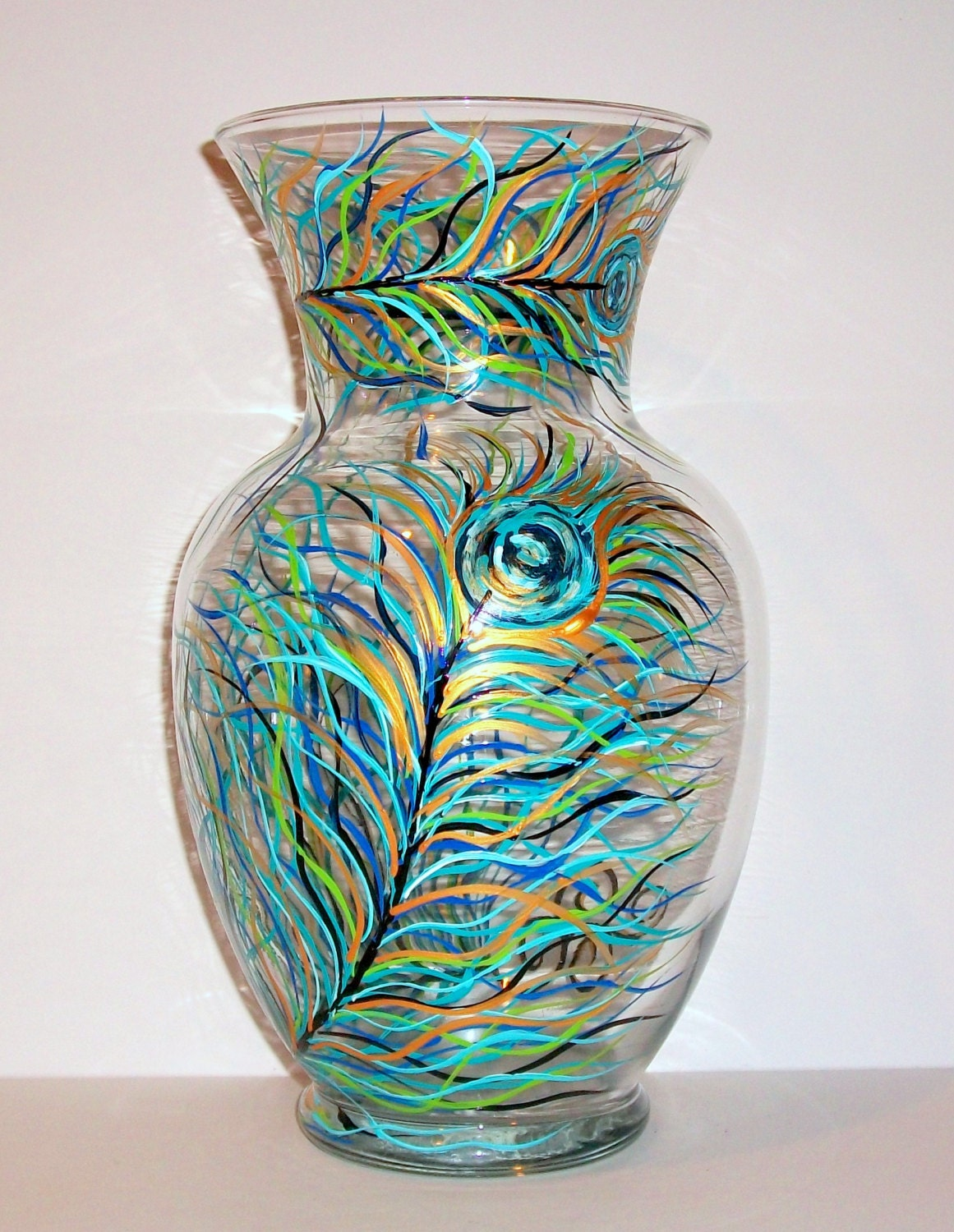 Peacock feather glass vase hand painted inches tall and