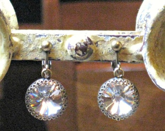 NON PIERCED Earrings Bridal Swarovski Crystal and Antique Brass for Weddings with Pierced Looking Ear Wire, Clip On Earrings