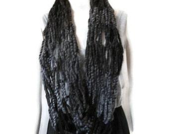 Womens Infinity Scarf, Circle Scarf, Fashion Scarf, Wool wrap scarf, Black Infinity Scarf