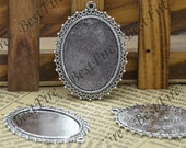 6 pcs of  Antique Silver Oval Cabochon Pendant Base (Cabochon size 30x40mm),Pendant findings,lacework findings