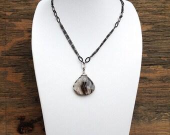 Rutilated quartz necklace, tourmalinated quartz, handmade necklace