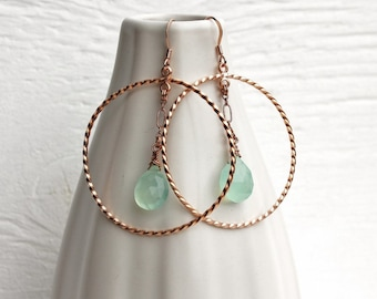 Rose gold earrings, rose gold and chalcedony