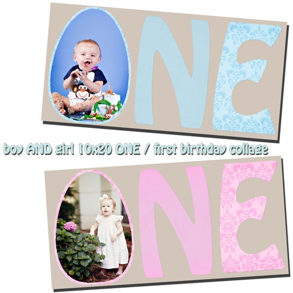 one first birthday template 5x10 10x20 storyboard collage pink. Black Bedroom Furniture Sets. Home Design Ideas