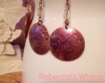 Butterfly Earrings - Purple etching on copper (style 2)