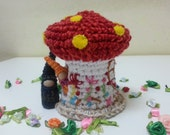 Red Toadstool House and Gnome Couple, Mushroom Cottage, Embroidered Flowers