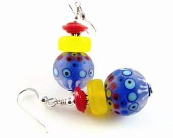Blue Lampwork Earrings, Colorful Dangle Earrings, Glass Bead Earrings, Yellow Abstract Earrings, Lampwork Jewelry, Red Statement Earrings
