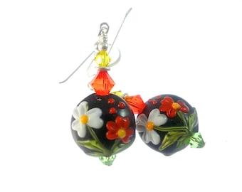 Black Lampwork Earrings, Glass Bead Earrings, Dangle Earrings, Beadwork Earrings, Red White Flower Earrings, Lampwork Jewelry