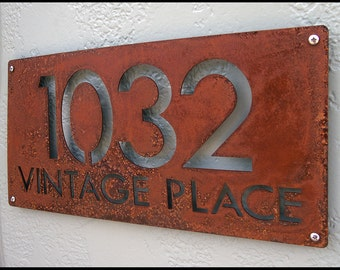 CUSTOM Modern Deluxe Address Sign in Rusted Steel